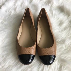 Ann Taylor Quilted Tan and Black Flats